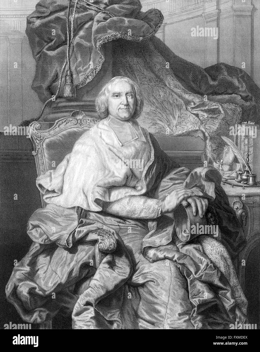 André-Hercule de Fleury, Bishop of Fréjus, 1653-1743, a French cardinal, chief minister of Louis XV - Stock Image