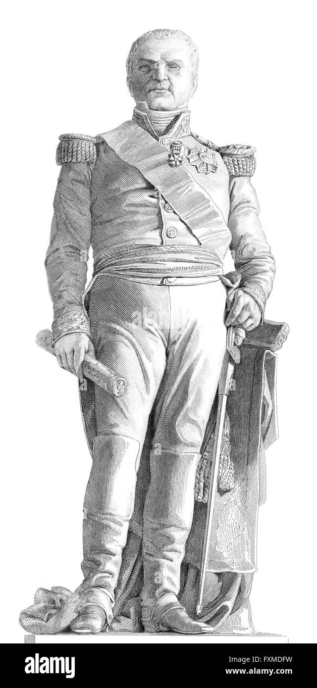 Statue to Étienne Maurice Gérard, comte Gérard, 1773-1852, a French general and statesman - Stock Image