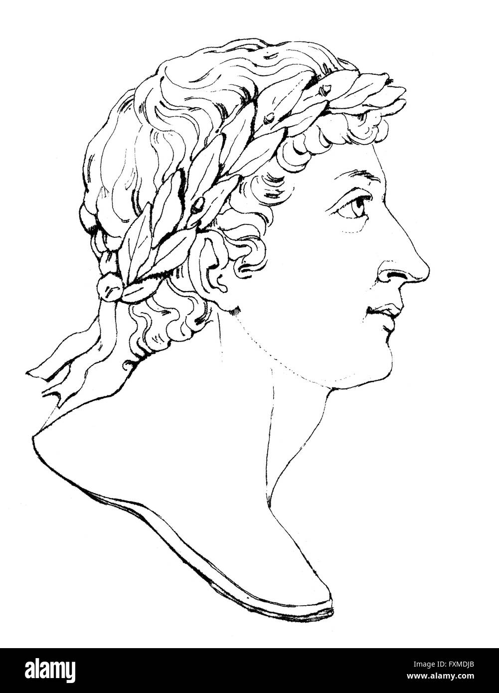 Publius Ovidius Naso or Ovid, 43 BC - 17, a Roman poet, Publius Ovidius Naso oder Ovid, 43 v. Chr. - 17 n. Chr., - Stock Image