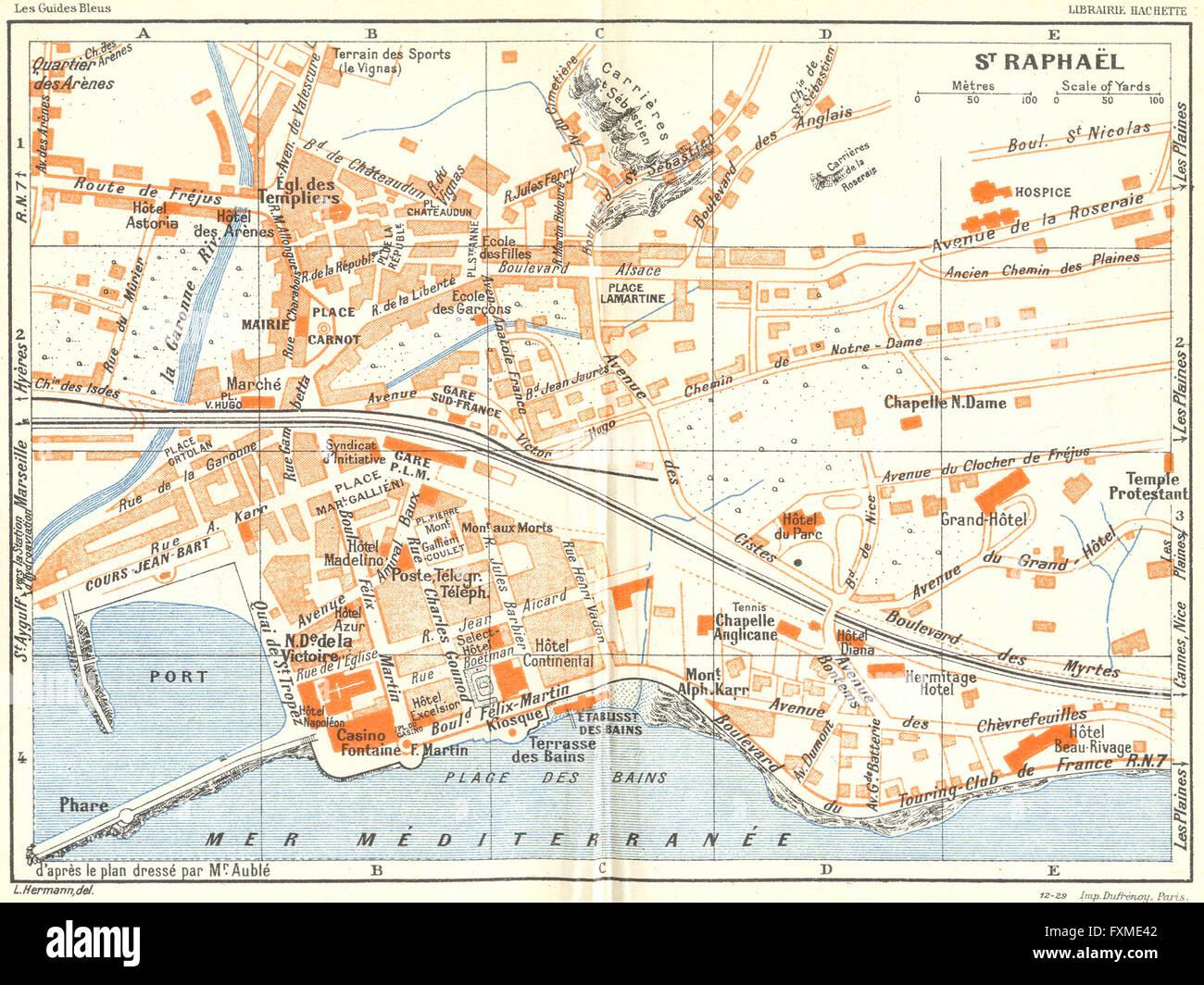 St Raphael France Map.Cote D Azur St Raphael 1926 Vintage Map Stock Photo 102483026 Alamy