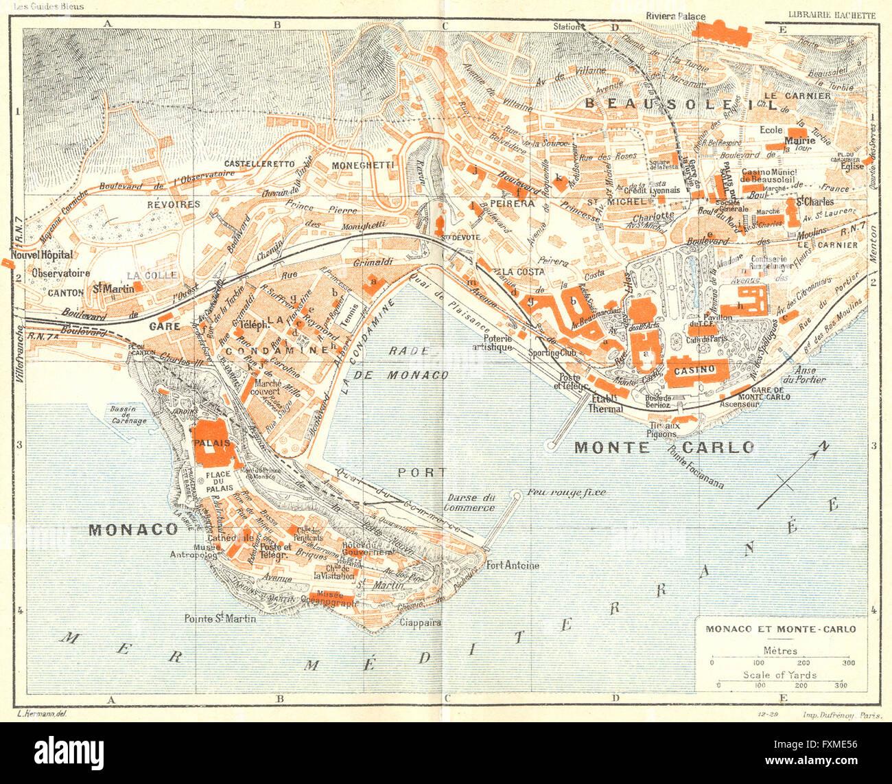 Monte Carlo World Map.Cote D Azur Monaco Et Monte Carlo 1926 Vintage Map Stock Photo