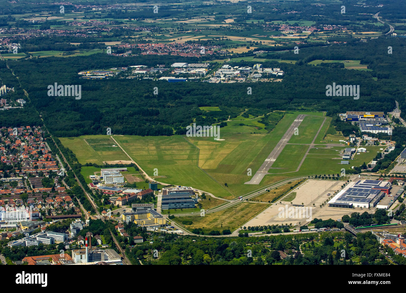 Aerial view, airfield Freiburg, EDTF ICAO code, airport