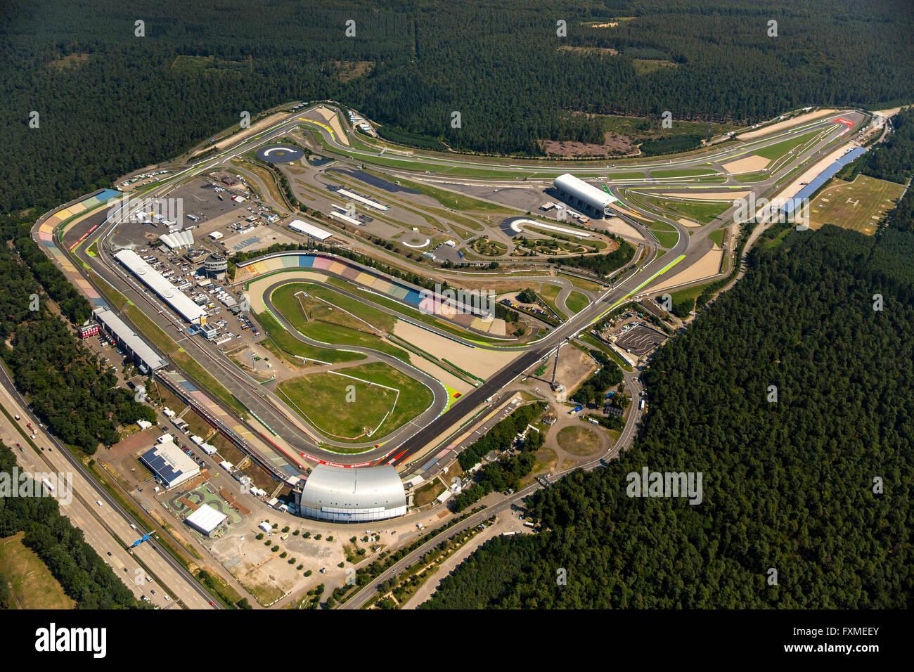 Aerial view, Hockenheimring, formerly Hockenheimring, Kurpfalzring, Motor Racing, DTM track, Germany, Europe, Aerial - Stock Image