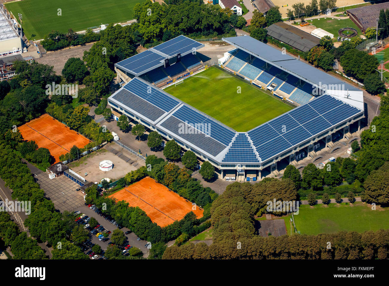 Aerial view, Carl-Benz-Stadion Mannheim, football stadium, Mannheim, Baden-Württemberg, Germany, Europe, Aerial - Stock Image