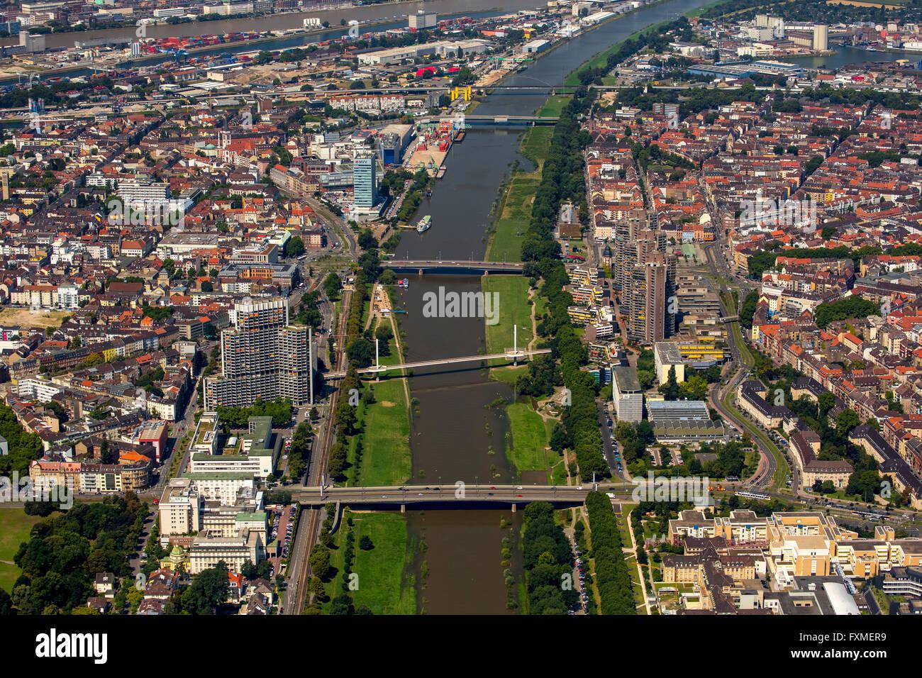 Aerial view, overlooking the River Neckar in Mannheim, Mannheim, Baden-Württemberg, Germany, Europe, Aerial - Stock Image