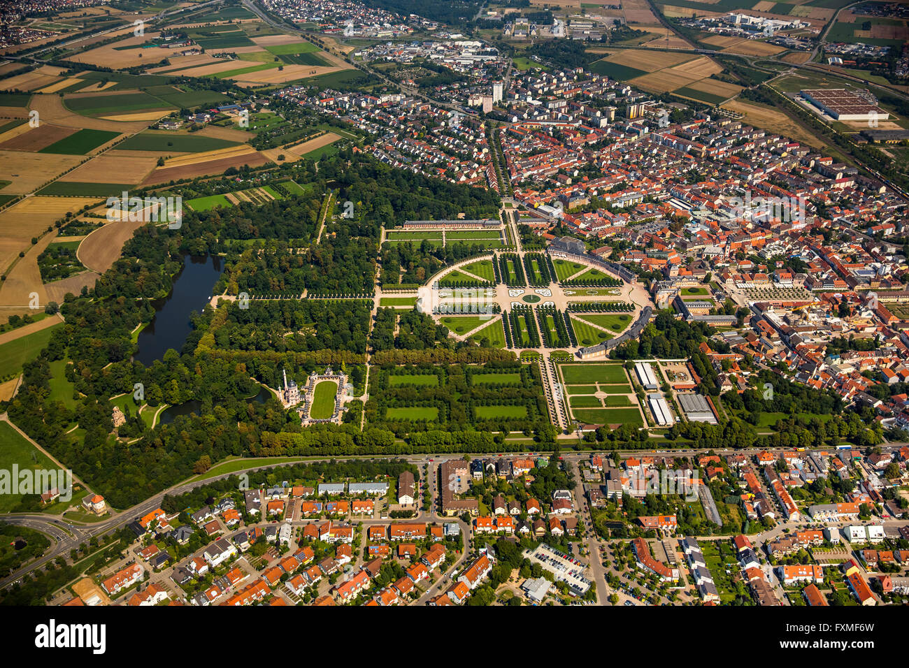 Aerial view, French garden, baroque garden with the longitudinal and lateral axes, Schwetzingen Castle with the - Stock Image