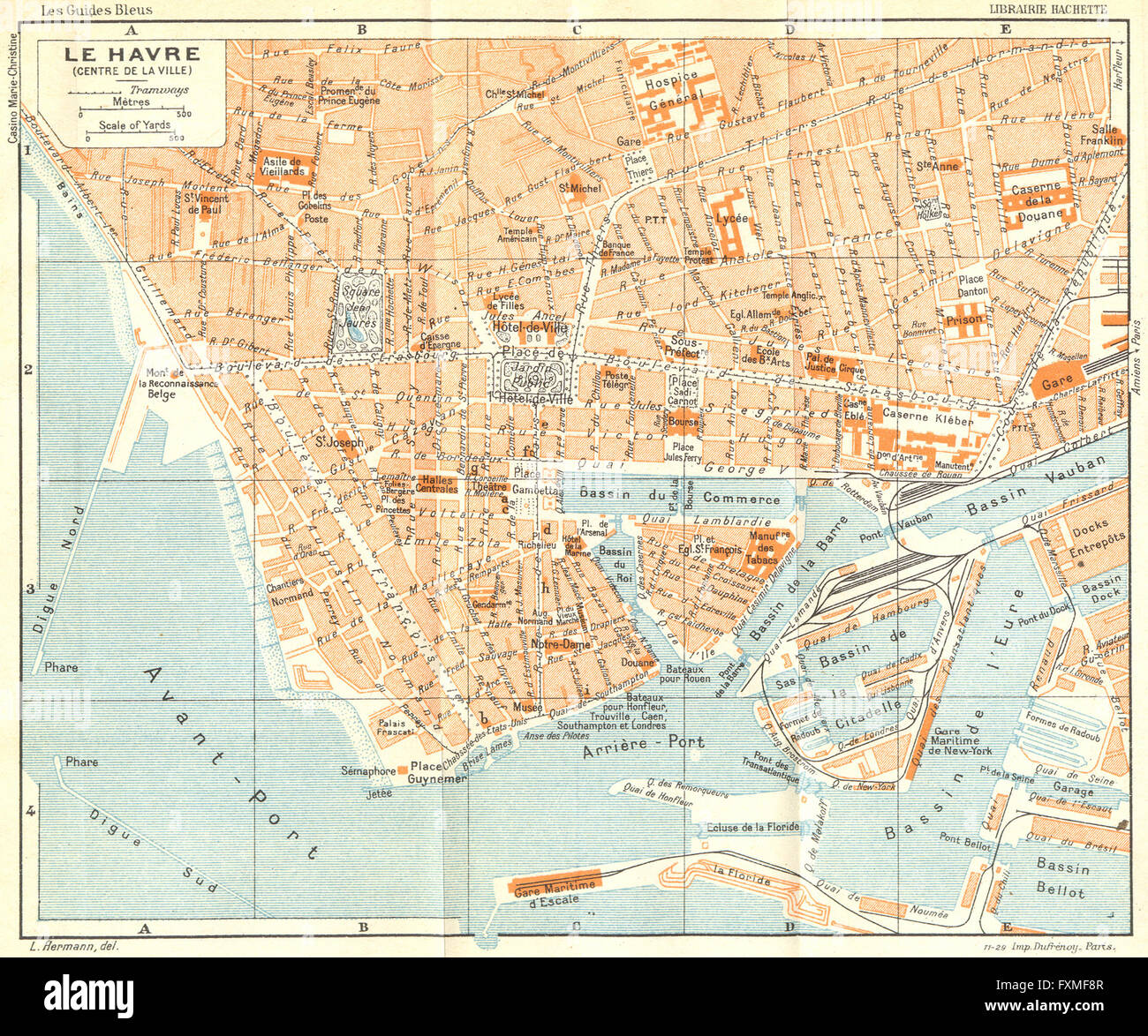 Map Of France Le Havre.France Le Havre 1932 Vintage Map Stock Photo 102483943 Alamy