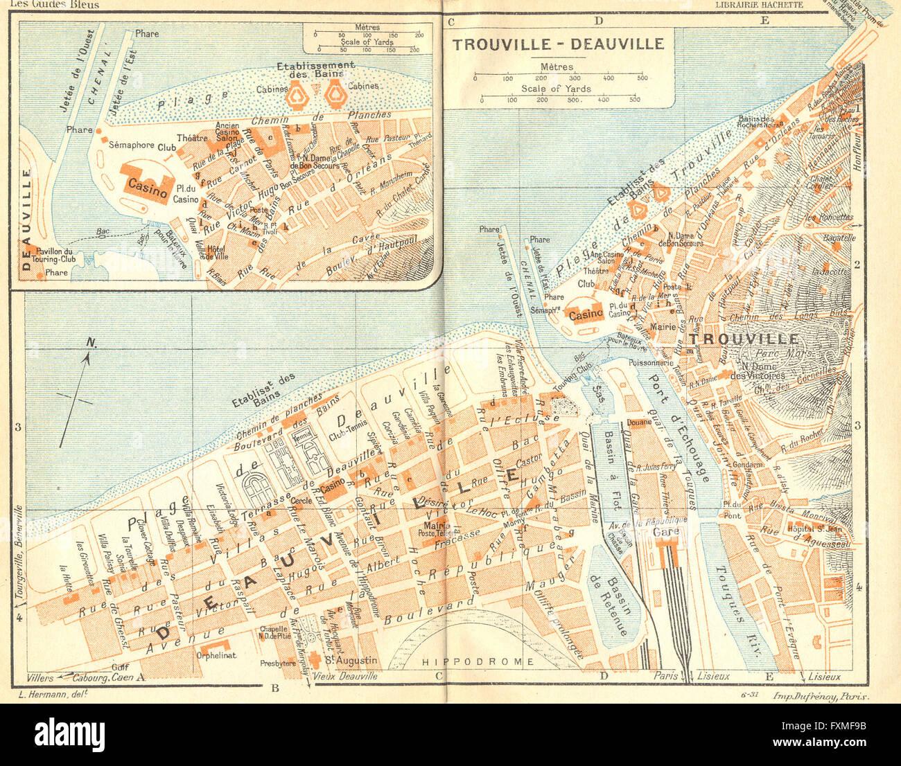 France Honfleur 1932 Vintage Map Stock Photos France Honfleur 1932