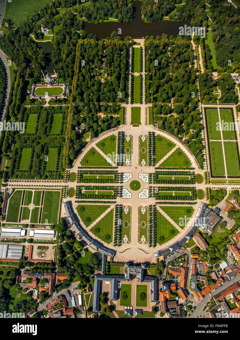 Aerial View French Garden Baroque Garden With The