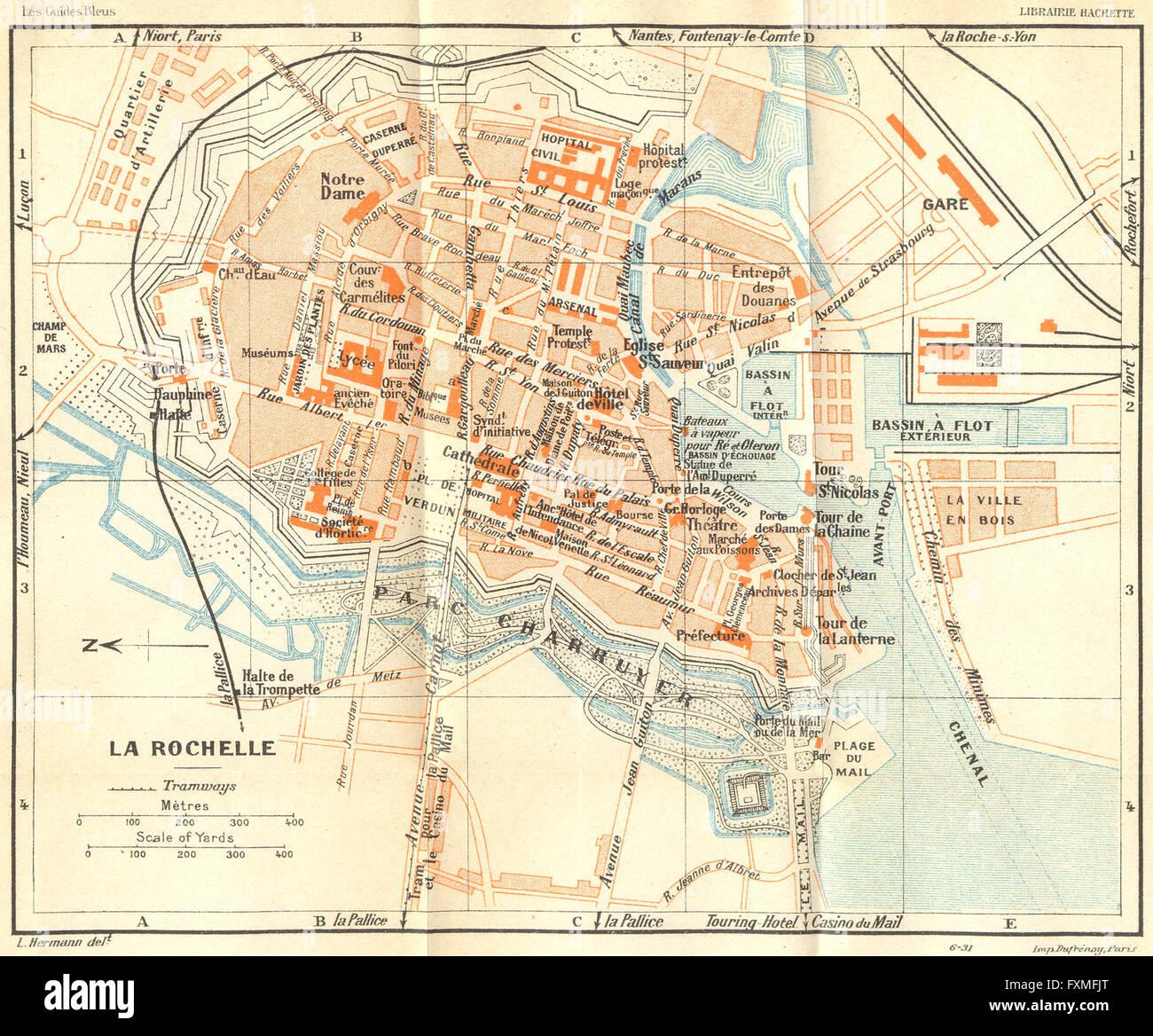 Map Of France La Rochelle.France La Rochelle 1932 Vintage Map Stock Photo 102484224 Alamy