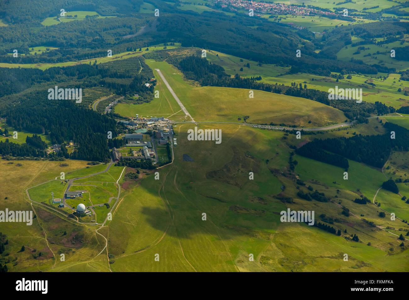 Aerial view, gliding center, German Gliding Museum, Wasserkuppe in the Hessian district of Fulda, Poppenhausen (Wasserkuppe) - Stock Image