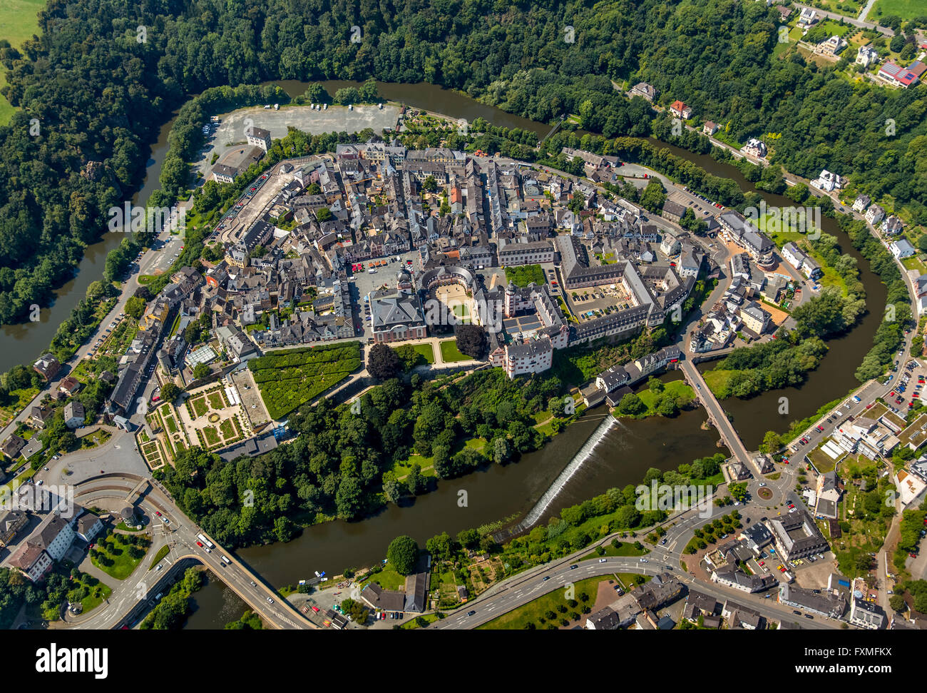Aerial view, Renaissance castle Weilburg, Weilburg Castle, Baroque castle, Old Town Hall and Castle Church with - Stock Image
