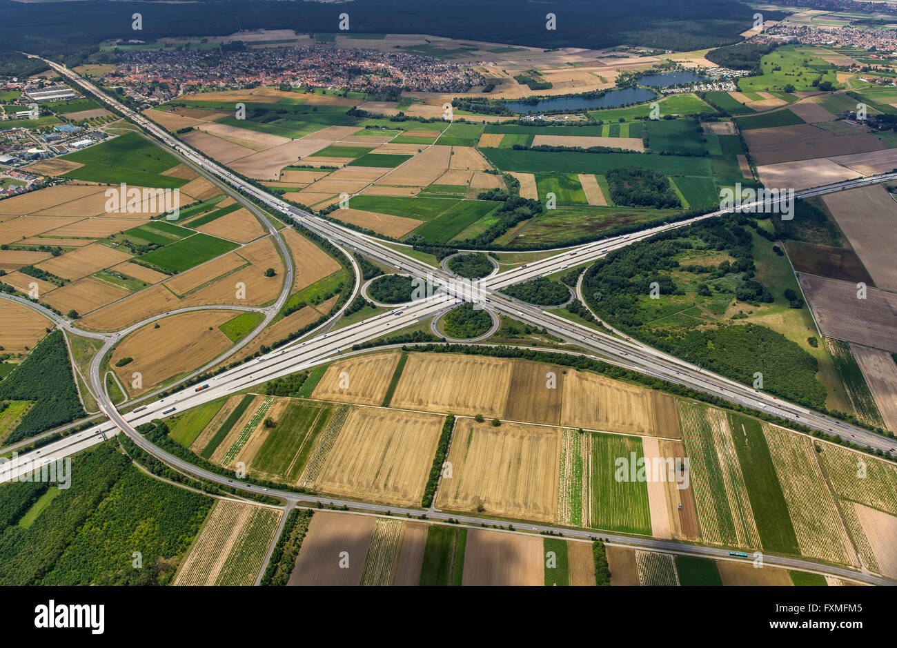 Aerial view, motorway intersection Walldorf, A5 and A6, Shamrock, Walldorf, Baden-Wurttemberg, Germany, Europe, - Stock Image