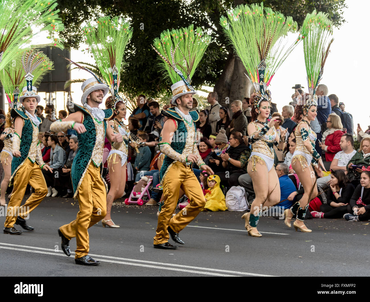 Dancers in elaborate costumes, Carnival Procession, Santa Cruz, Tenerife - Stock Image