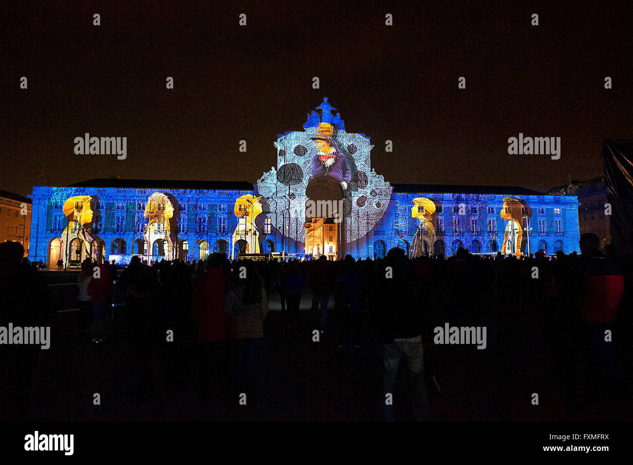 Projection Mapping on Arch of Triumph at Palace Square, Lisbon, Portugal - Stock Image
