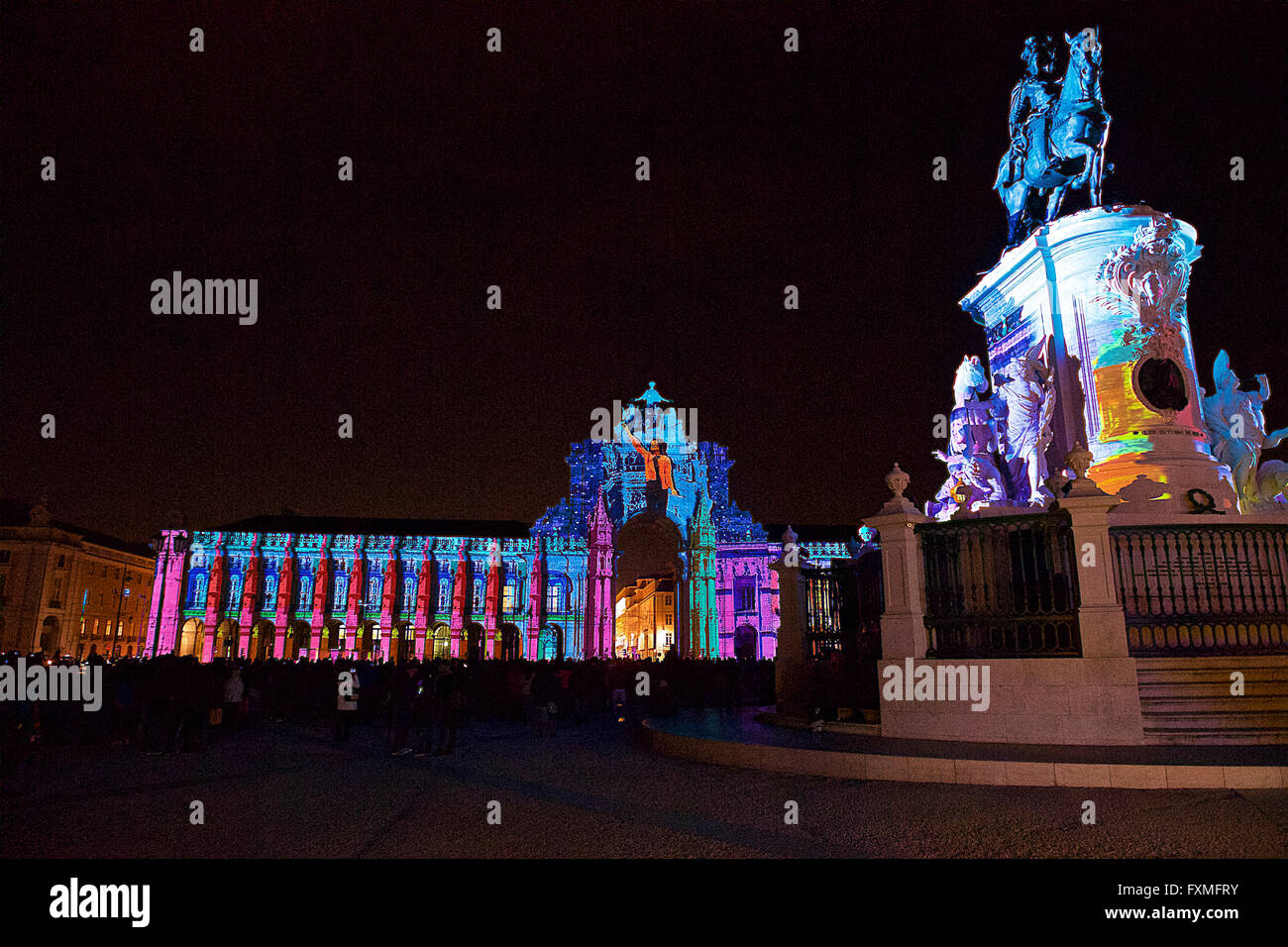 Comercio Square Projection Mapping, Lisbon, Portugal - Stock Image