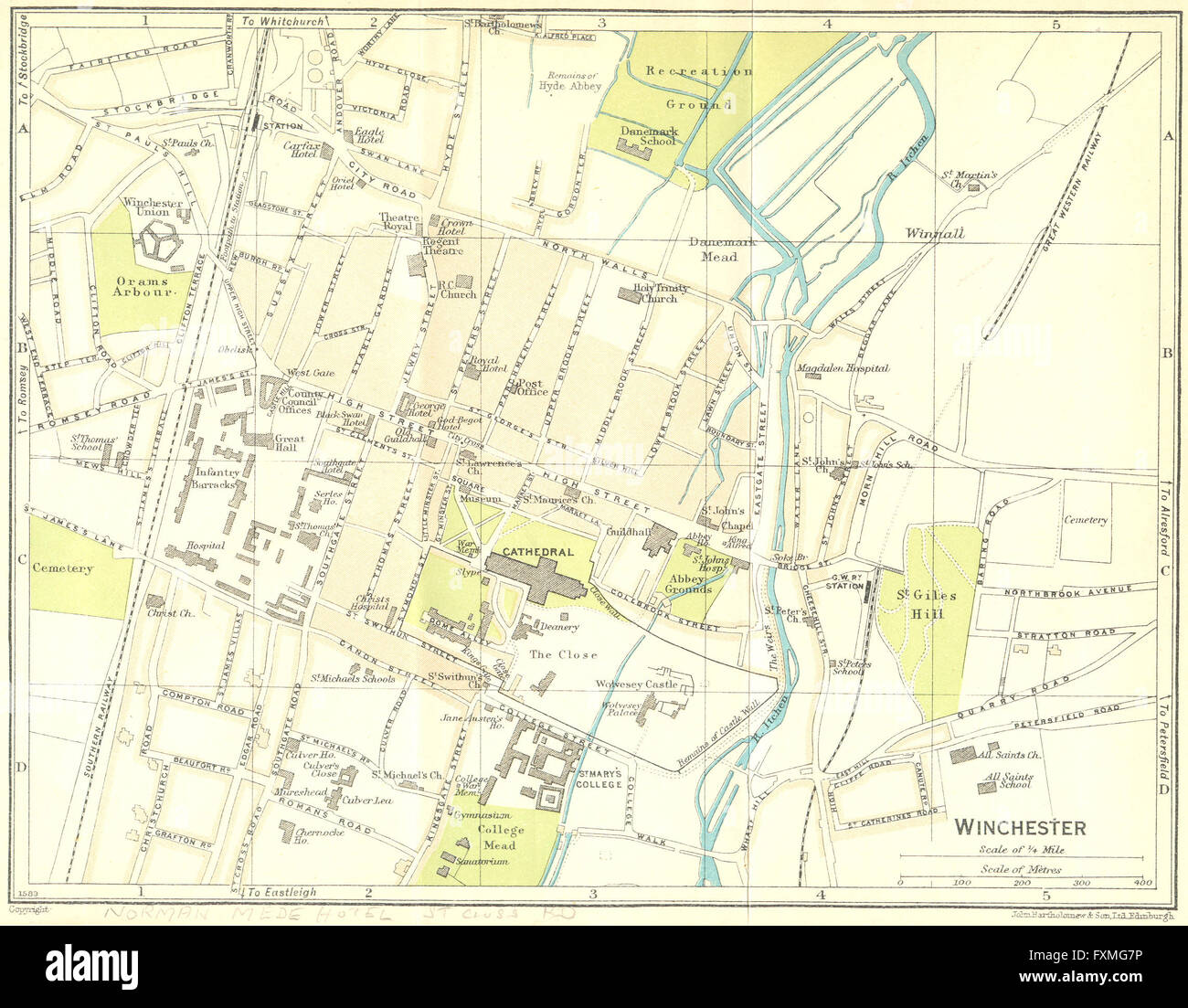 HANTS: Winchester, 1930 vintage map - Stock Image