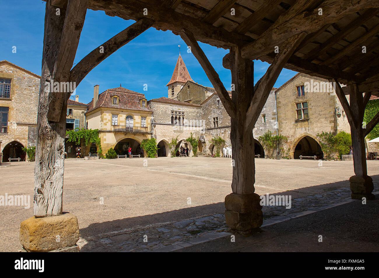 The Medieval Arcaded Central Square, Monpazier, France - Stock Image