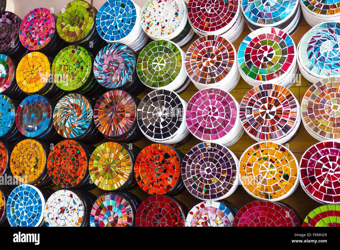 Mosaic Coaster in Bali Ubud Traditional Market, Ubud, Bali, Indonesia - Stock Image