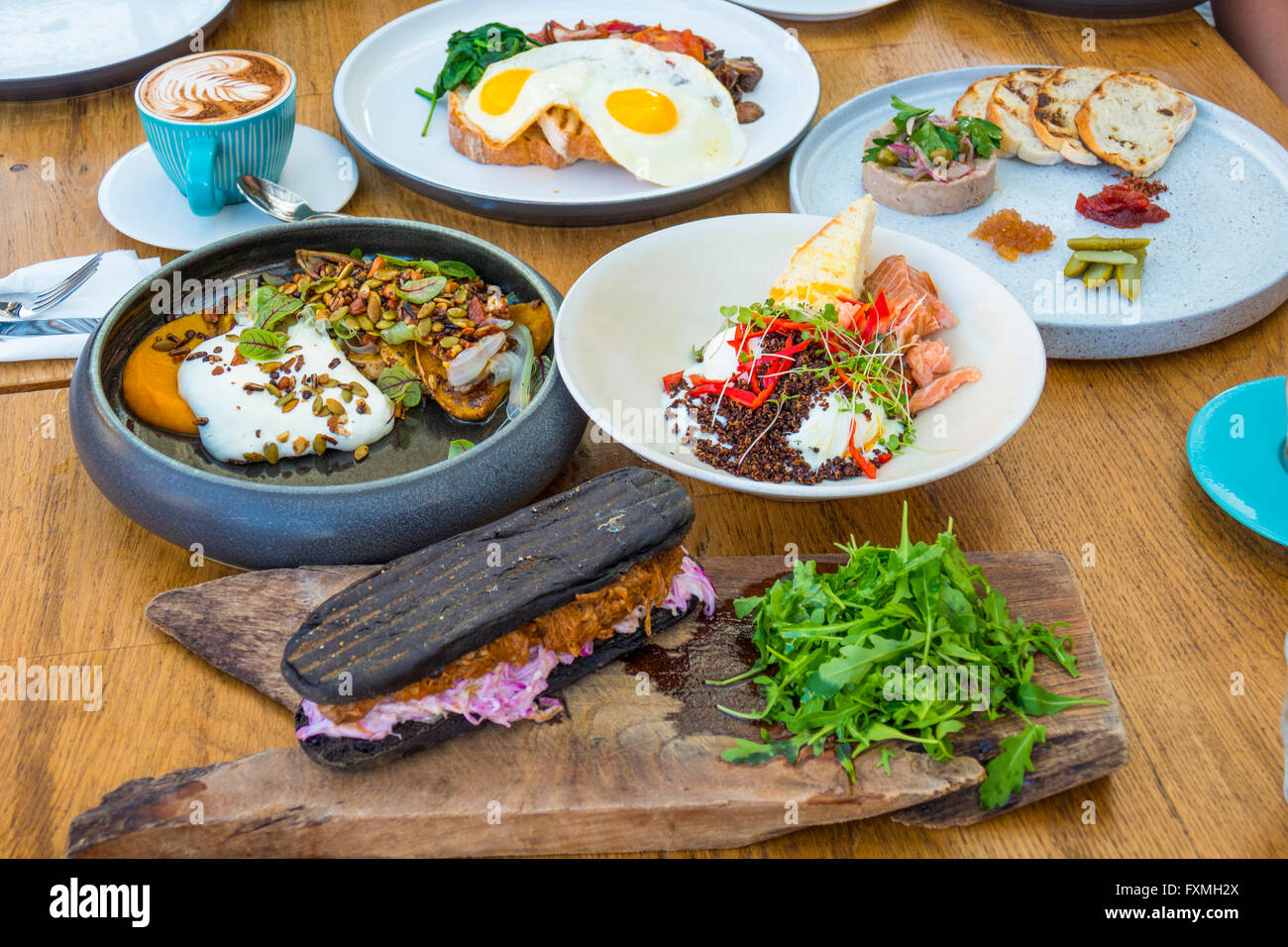 Hearty Breakfast, Semminyak, Bali, Indonesia - Stock Image
