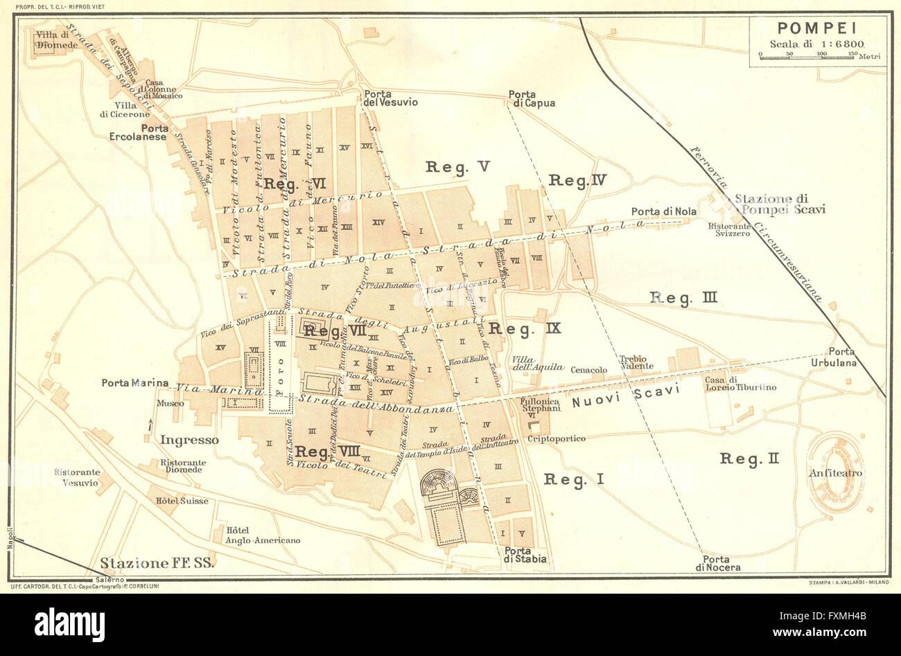 Where Is Pompeii On A Map Of Italy.Italy Pompeii 1925 Vintage Map Stock Photo 102485387 Alamy