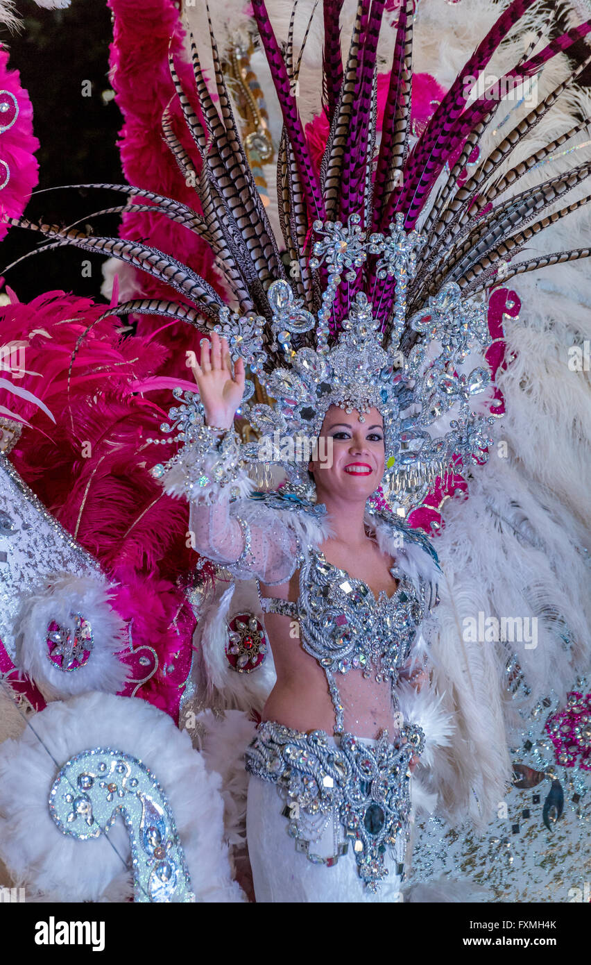 Carnival Queen on Richly Decorated Float, Carnival Parade, Santa Cruz, Tenerife - Stock Image