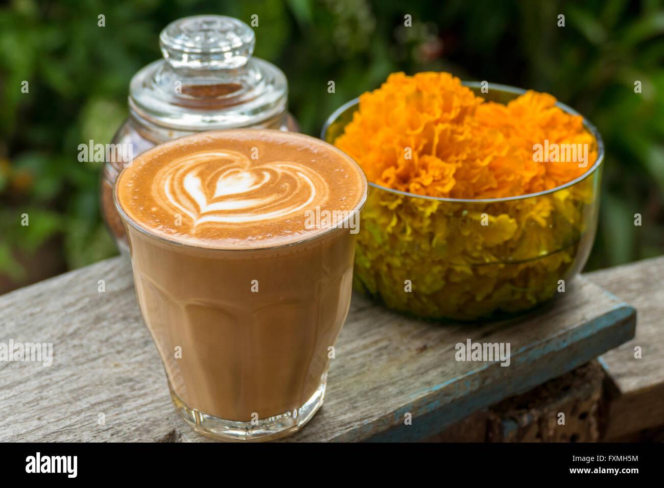 Latte Coffee, Ubud, Bali, Indonesia - Stock Image