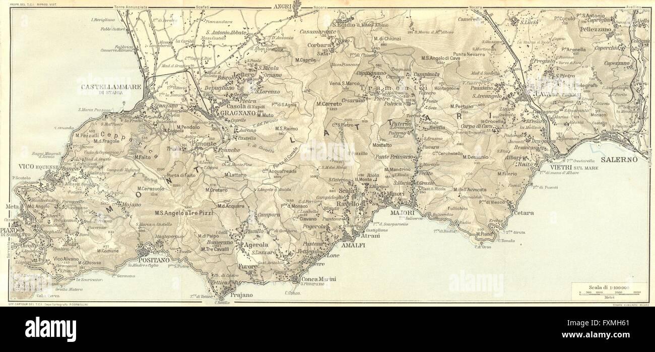 Italy Amalfi Coast Salerno Castellammare 1925 Vintage Map