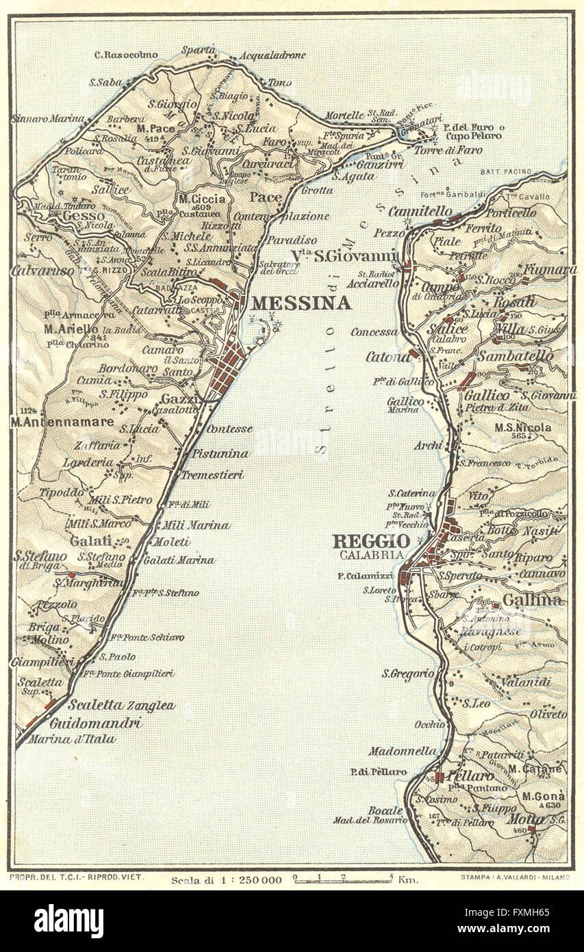ITALY: Straits of Messina Reggio Calabria, 1925 vintage map Stock ...
