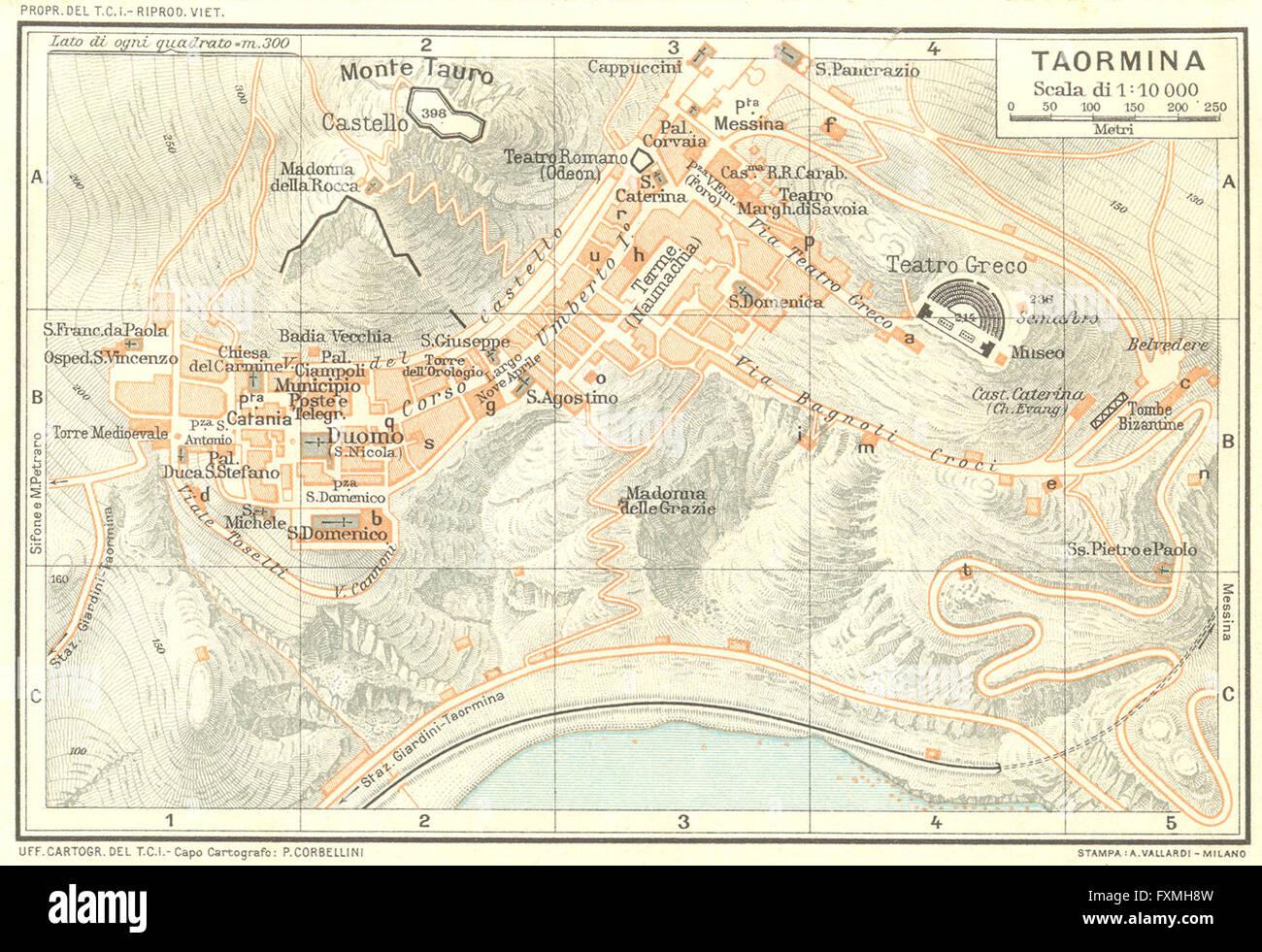 Italy Taormina 1925 Vintage Map Stock Photo 102485513 Alamy