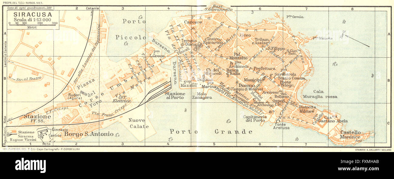 ITALY Siracusa 1925 vintage map Stock Photo 102485555 Alamy