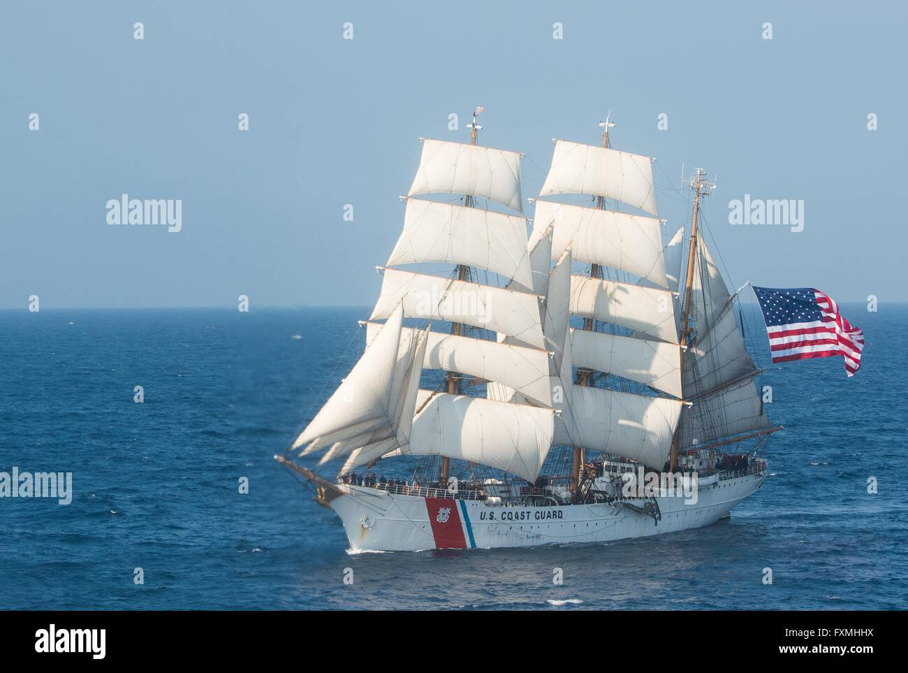 The Coast Guard barque Eagle with full sails July 30, 2015 in the Atlantic Ocean. - Stock Image