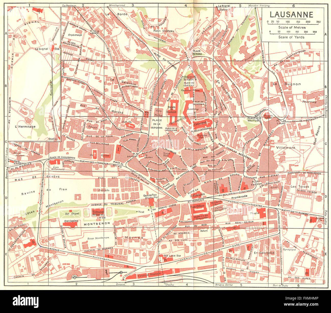 Switzerland Art Antiques Spiez-interlaken 1923 Old Vintage Map Plan Chart