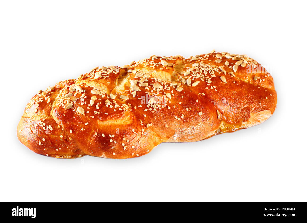 challah bread isolated on white. - Stock Image