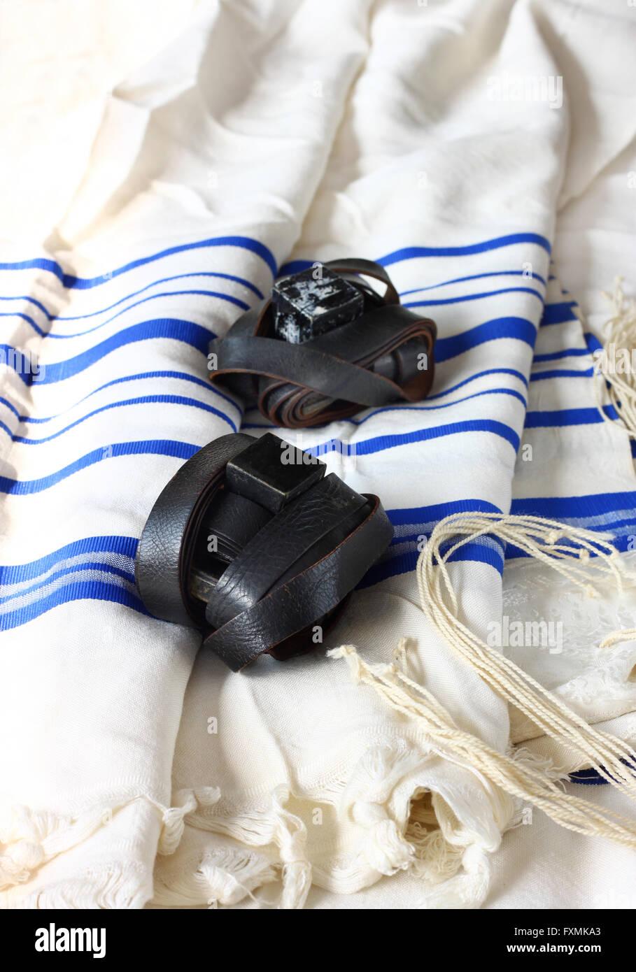 Prayer Shawl Tallit jewish religious symbol. - Stock Image