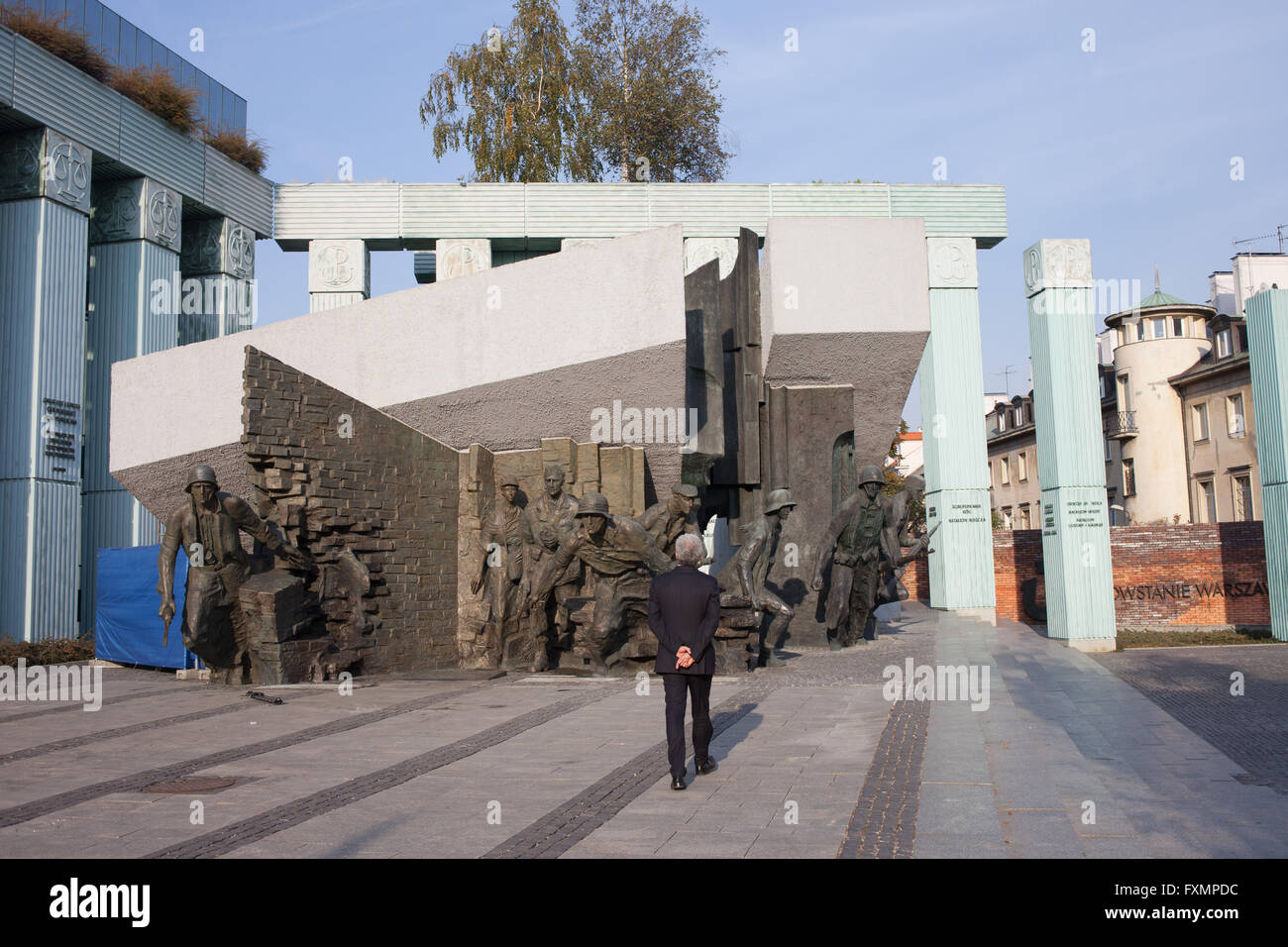 Warsaw Uprising Monument (Polish: Pomnik Powstania Warszawskiego) in Warsaw, Poland, dedicated to the Warsaw Uprising Stock Photo