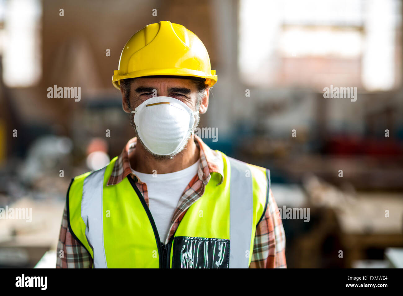 Of Dust Wearing Photo Stock Mask Portrait And Hat Carpenter Hard