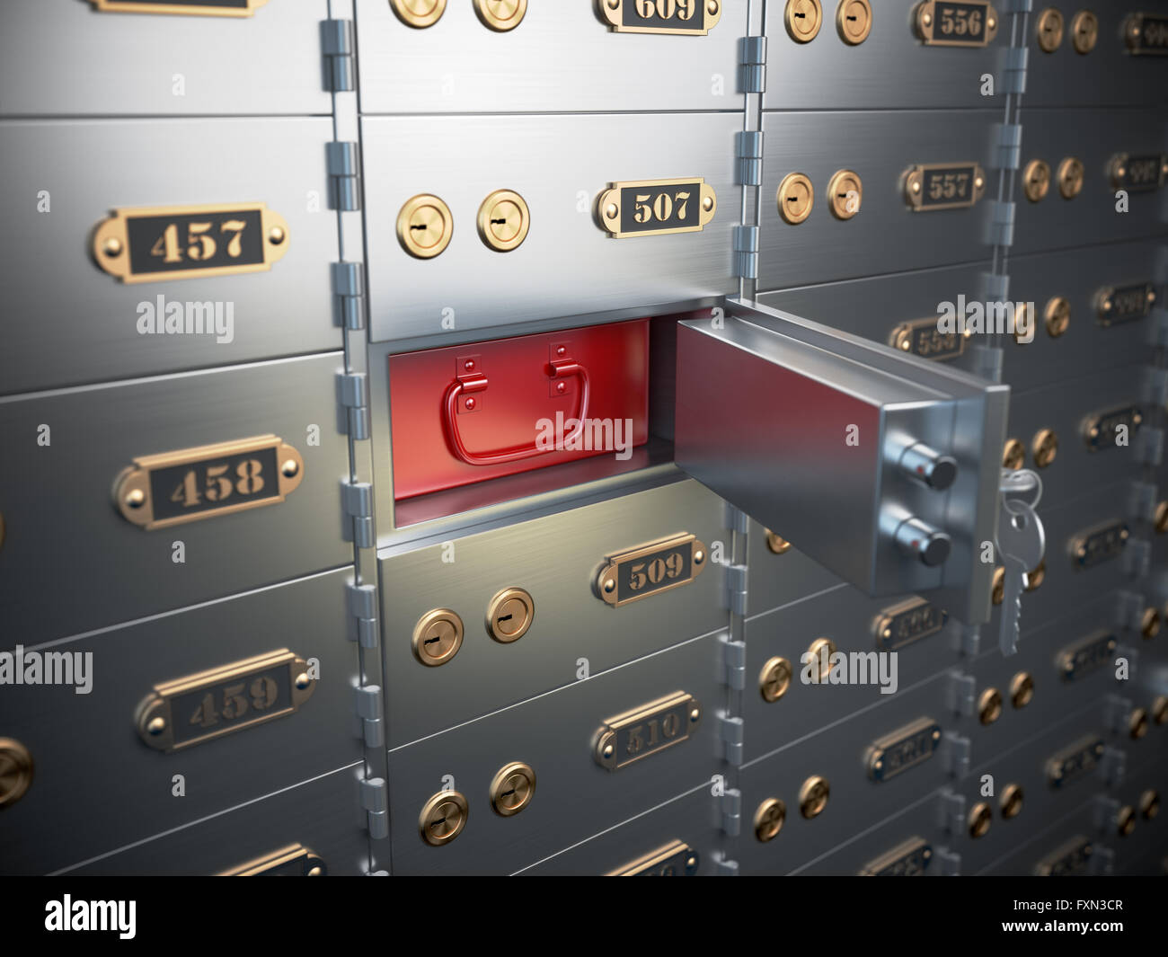 Safe deposit boxes with open one safe cell. 3d illustration - Stock Image