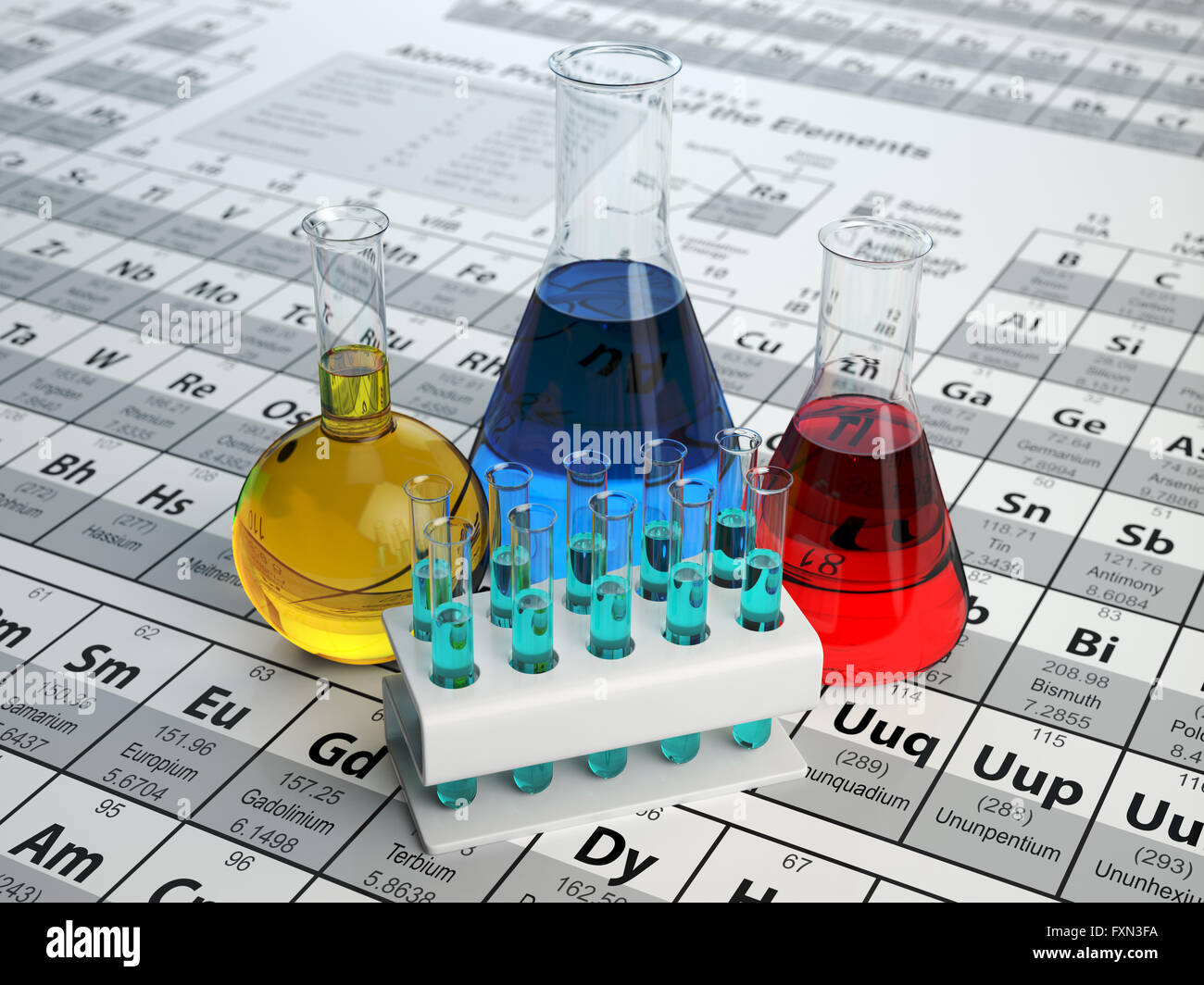 Science chemistry concept laboratory test tubes and flasks with laboratory test tubes and flasks with colored liquids on the periodic table of elements 3d illustra urtaz Image collections