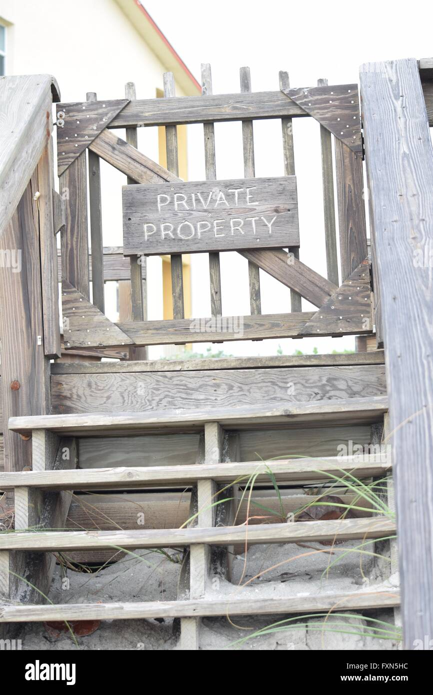 Private Property Beach Access Stairs   Stock Image