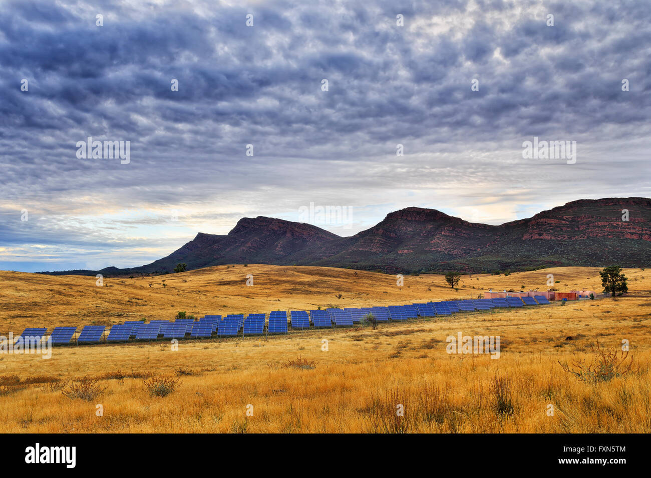 Array of on ground solar panels supplying electricity to Wilpena Pound in a middle of Flinders Ranges national park - Stock Image