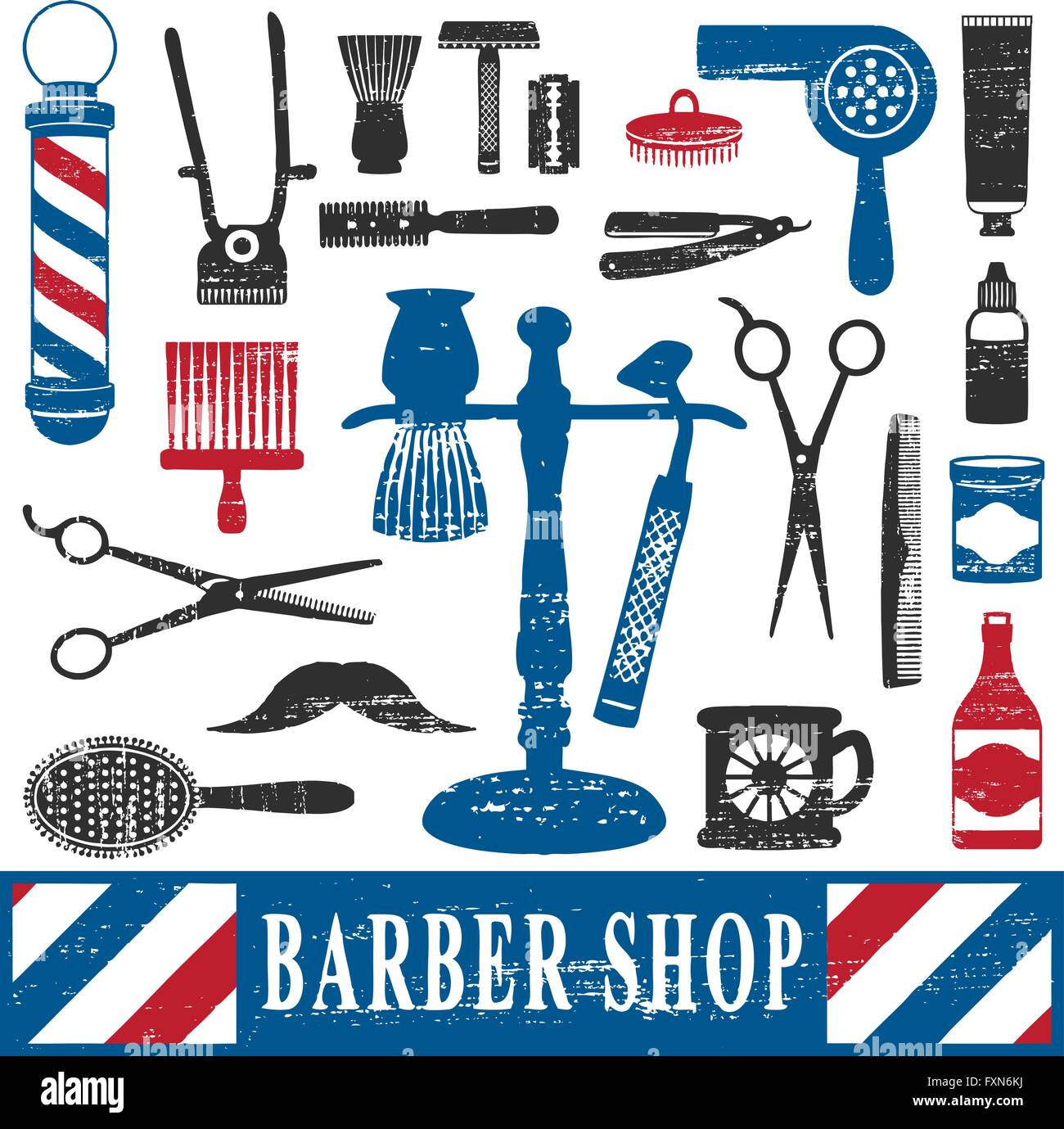 Brand new Vintage barber shop tools silhouette icons set 2 Stock Vector Art  SQ23