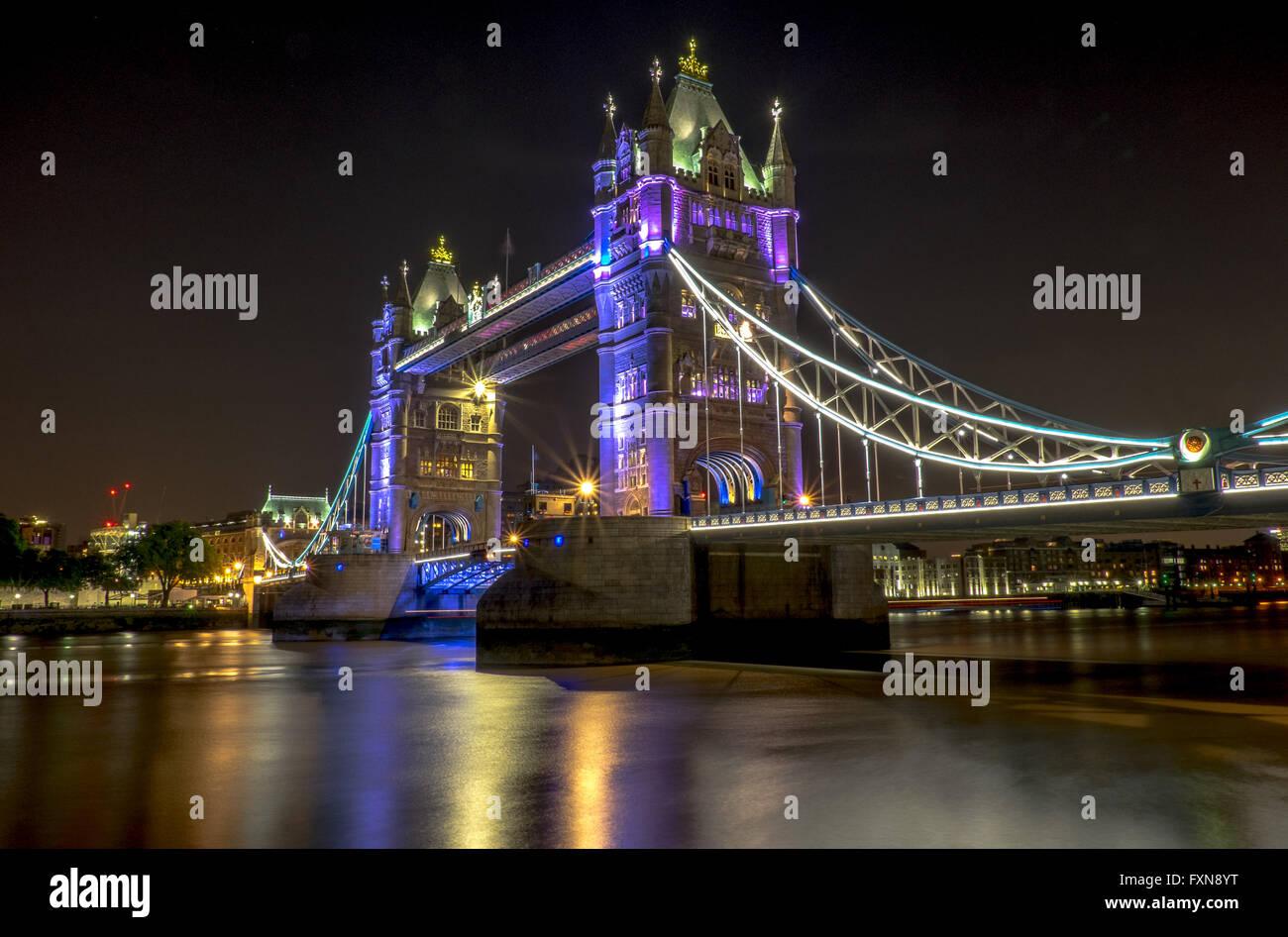 Night time image of London Tower Bridge - Stock Image