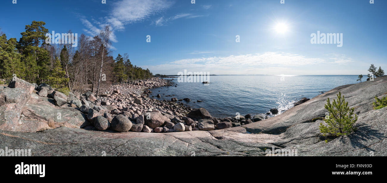 Spring day by the sea at Emäsalo, Porvoo, Finland, Europe, EU - Stock Image
