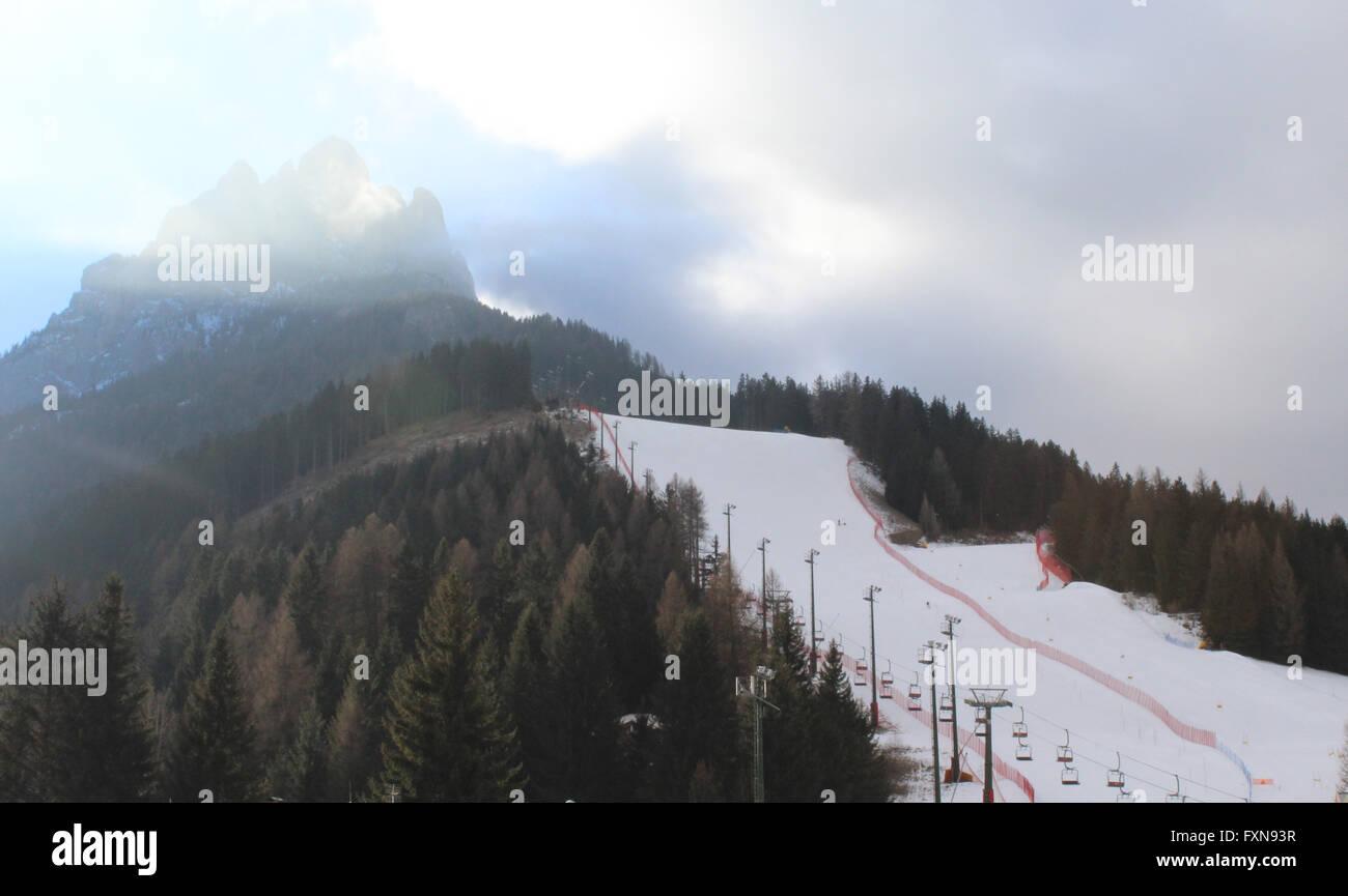 Val Di Fassa Downhill ski slope in Pozza Di Fassa, Trentino Italy - Stock Image