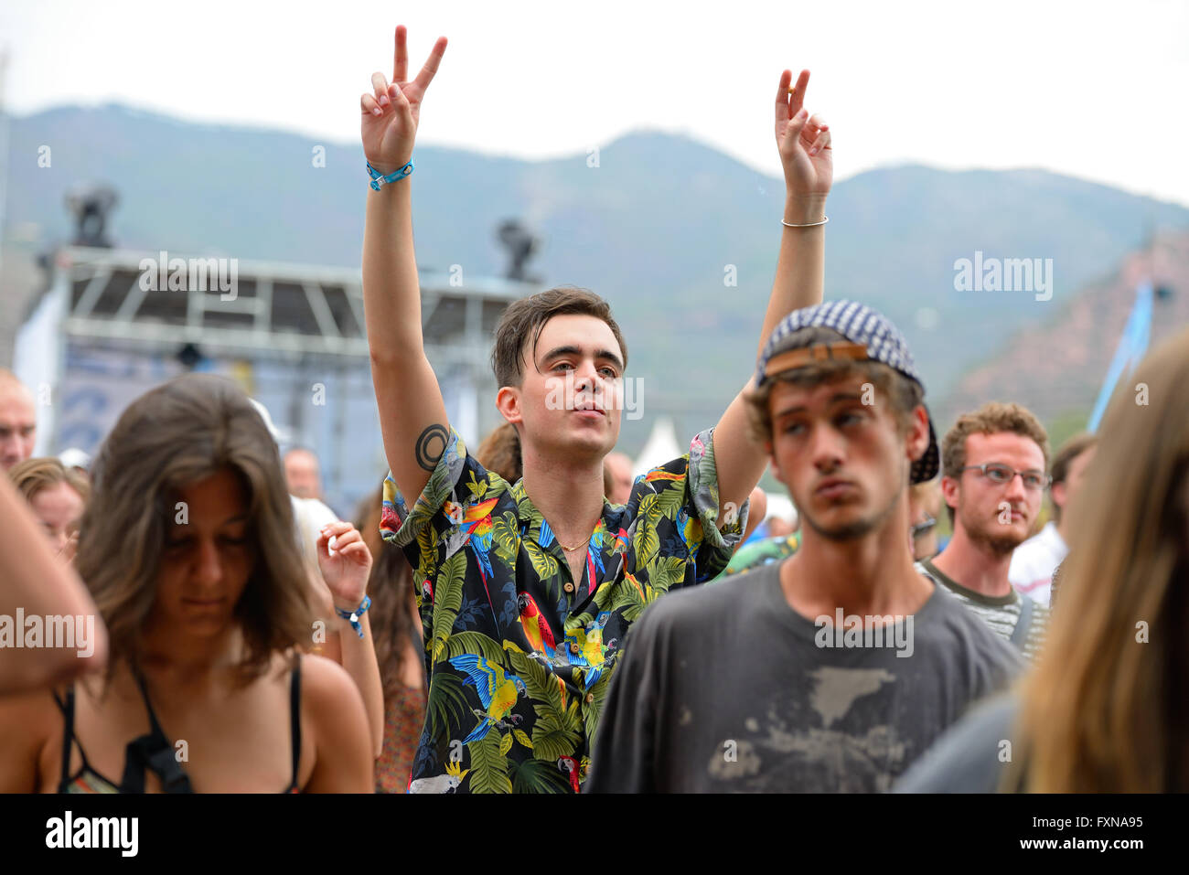 BENICASSIM, SPAIN - JULY 18: Crowd in a concert at FIB Festival on July 18, 2014 in Benicassim, Spain. - Stock Image