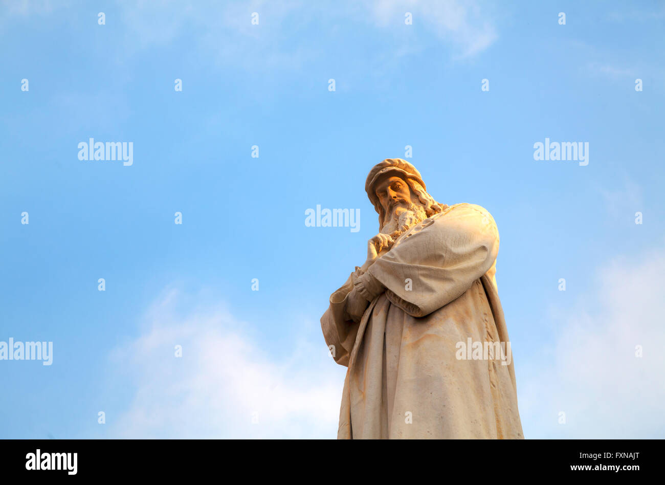 Leonardo Da Vinci statue at Piazza della Scala in Milan, Italy - Stock Image