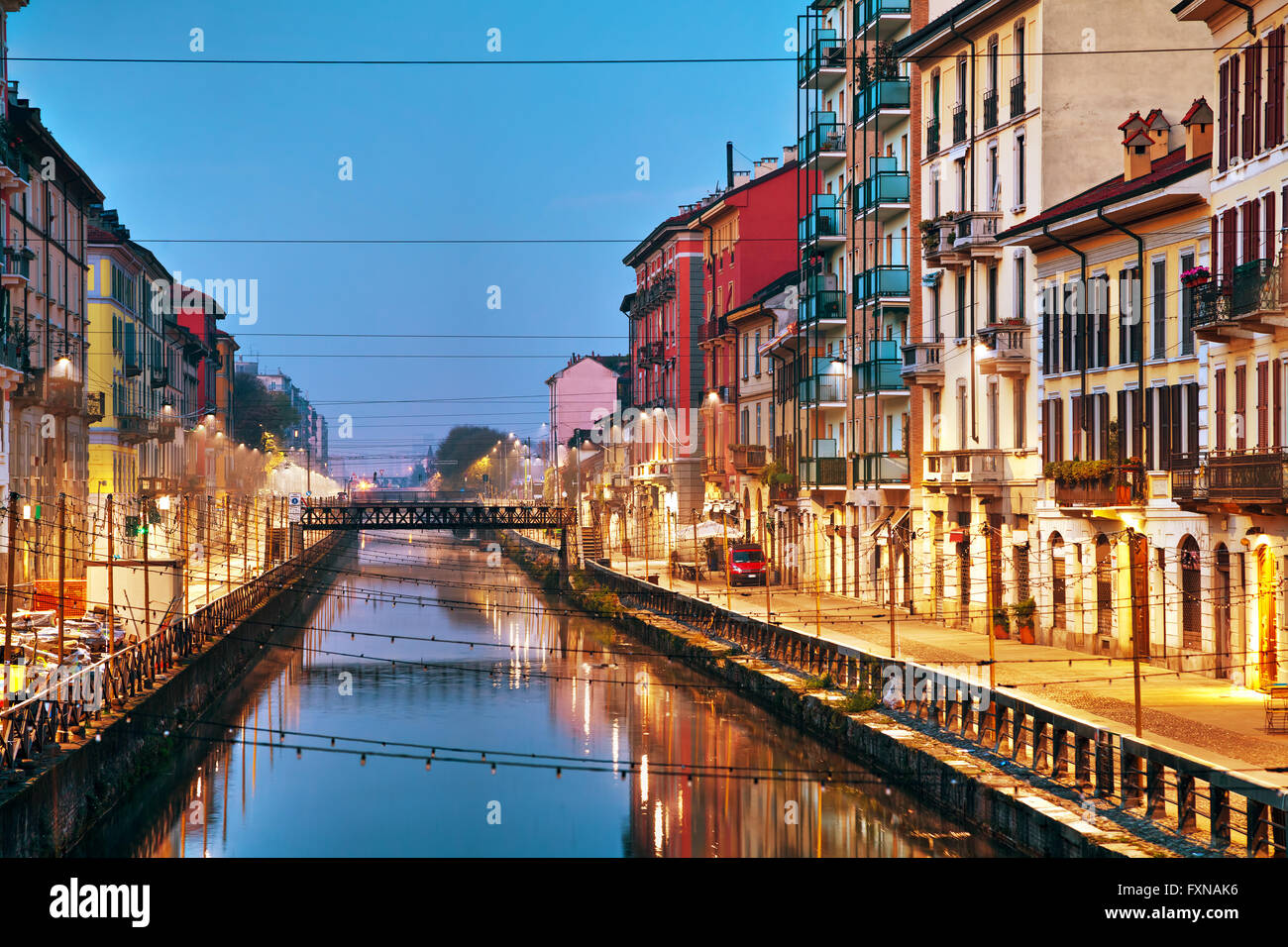 The Naviglio Grande canal in Milan, Italy at sunrise - Stock Image