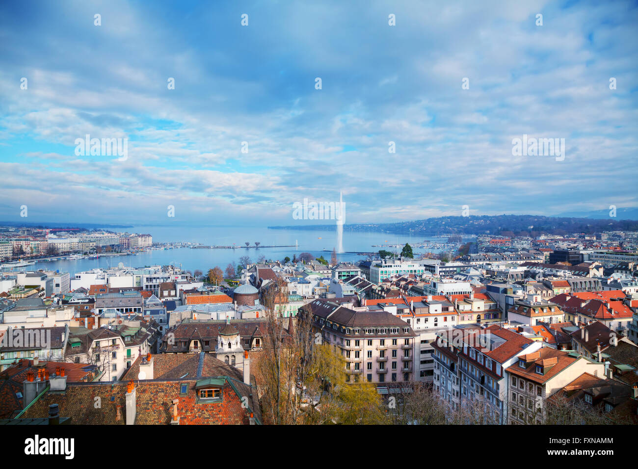 Aerial view of Geneva, Switzerland on a cloudy day - Stock Image
