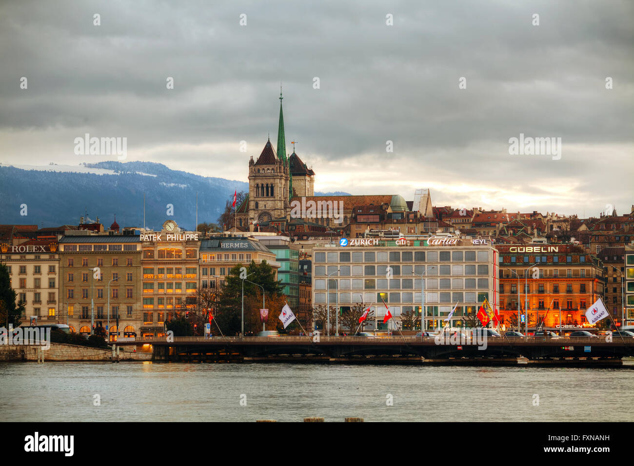 GENEVA, SWITZERLAND - NOVEMBER 28: Geneva cityscape overview with St Pierre Cathedral on November 28, 2015 in Geneva - Stock Image